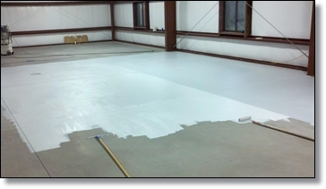 This shows Hydro-seal 75 apllied as primer for seamless floor